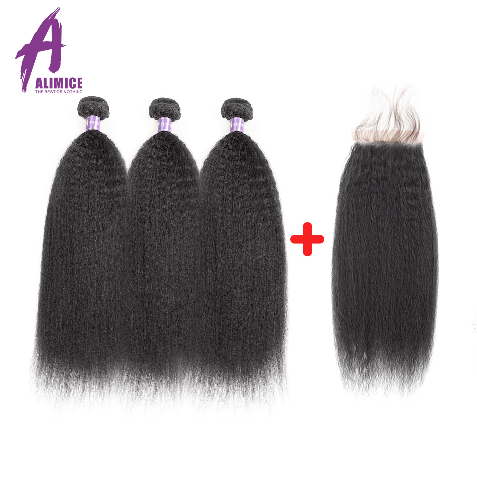 Kinky Straight Peruvian Hair Bundles With Closure Human Hair 3Bundles With Closure ALIMICE Hair Non Remy Human Hair Coarse Yaki