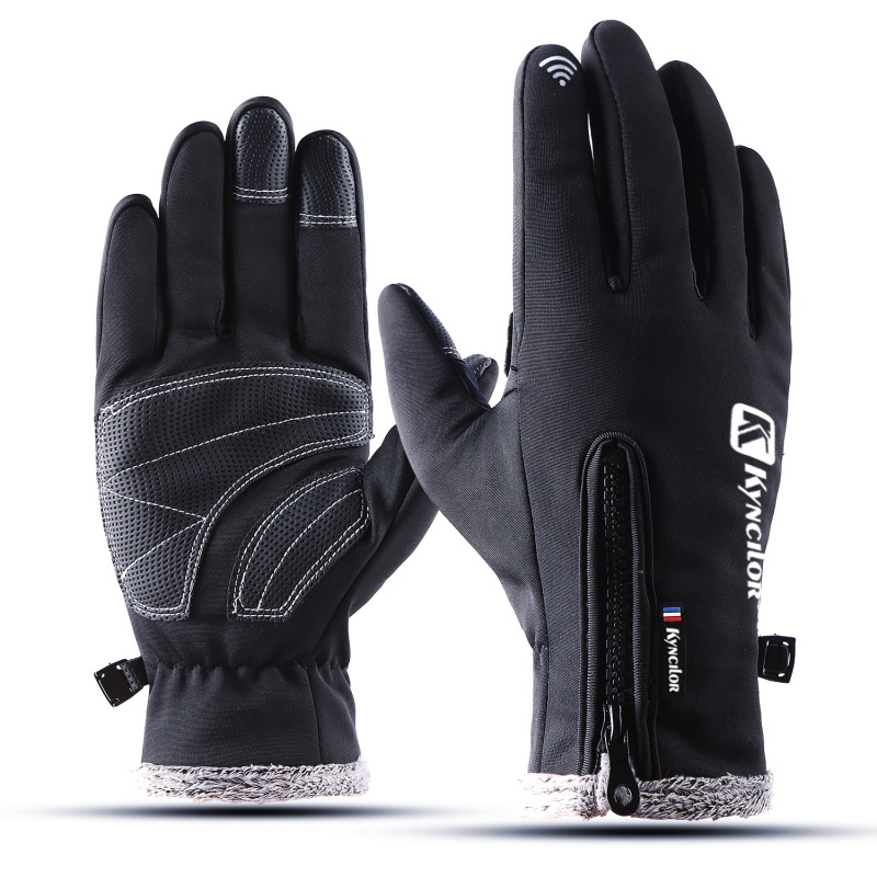1pair Waterproof Fleece Men Women Ski Gloves Plus Size Wind-proof Thermal Touch Screen Outdoor Sport Snowboard Gloves
