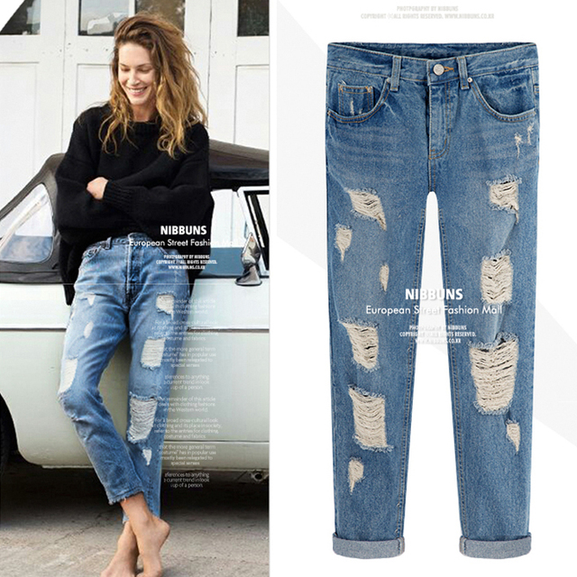 29b3673ebf45 Plus size fashion women jeans plus size slim hole wearing white loose denim  trousers pants spring summer autumn