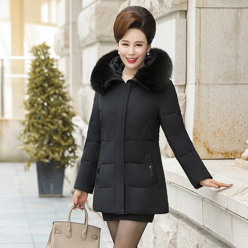 2019 новая зимняя куртка пуховик из белого утиного пуха Женская средней длины с капюшоном плюс размер куртка женская тонкая пуховая куртка из... - 3
