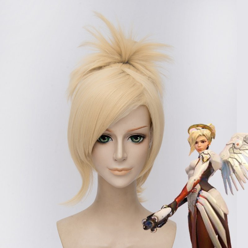 Free shipping Game OW Mercy Cosplay Wig Halloween Party Stage Play Light Golden Hair For women