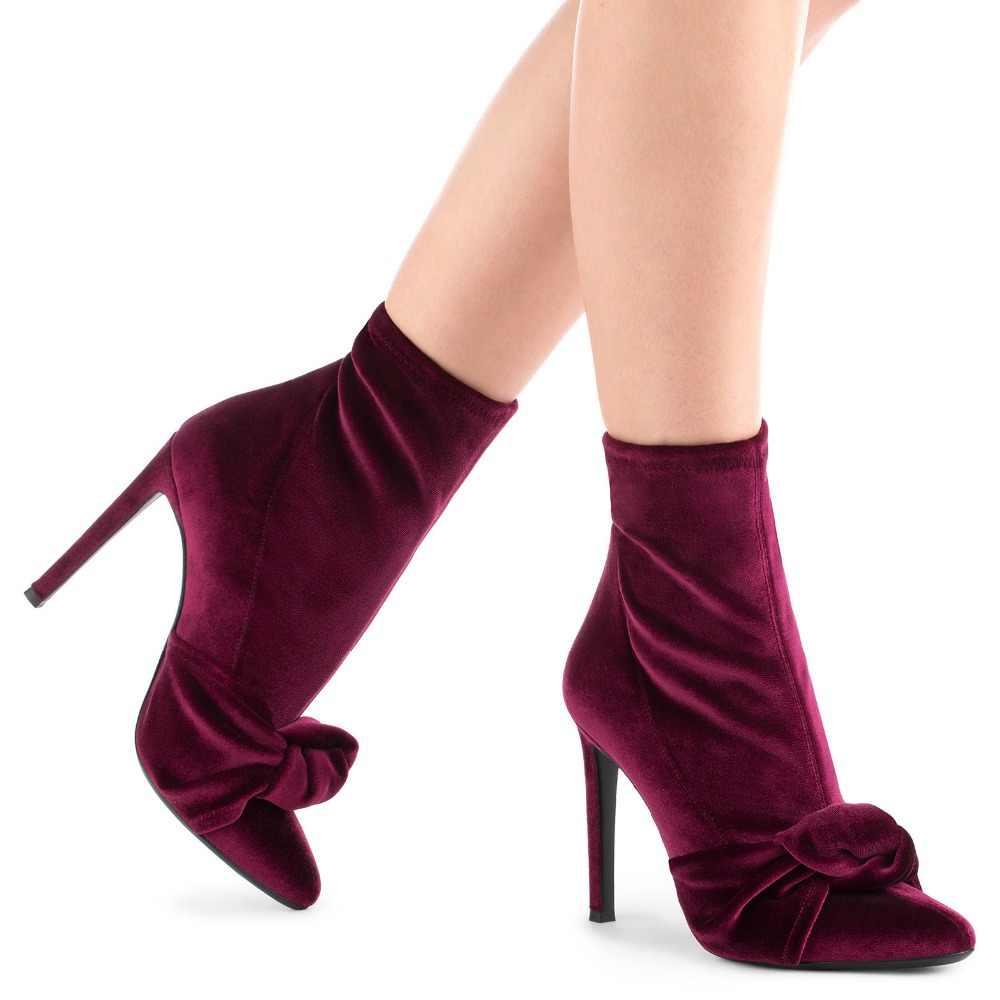 Seksi Streç Kadife Papyon Düğüm Sivri Burun yarım çizmeler Stiletto Topuklu Kadın Gladyatör Kayma Kelebek düğüm Kısa Bottines