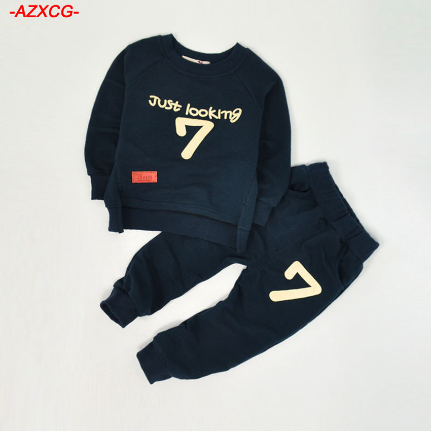 2017 New Fashion Boys Clothing Sets Kids Autumn Winter Long Sleeve Cotton Children' s Letter Tracksuits Kids Clothes Sports Suit