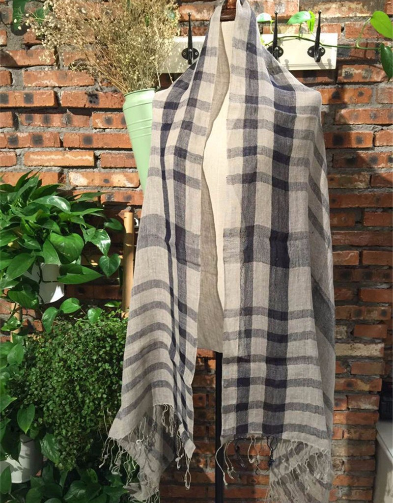 linen plaid scarf (2)