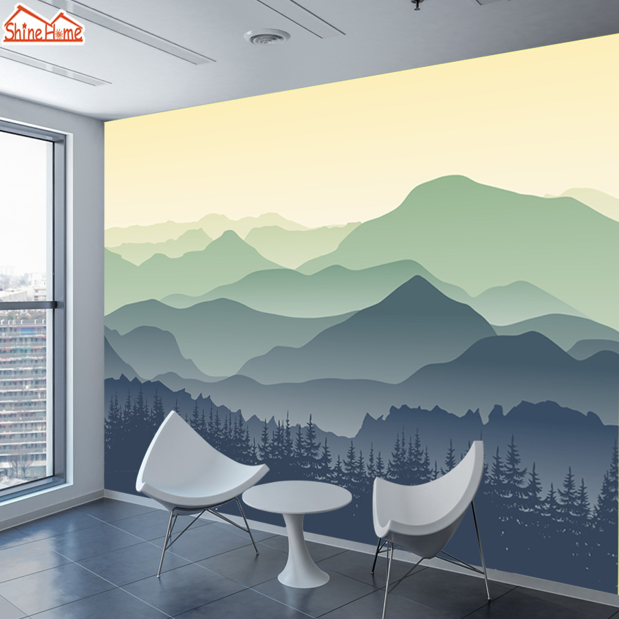 ShineHome-Custom Chinese Oil Ink Painting Mountain Nature Wallpapers 3 d Wall Paper Wallpaper Mural Roll for Living Room Walls shinehome abstract brick black white polygons background wallpapers rolls 3 d wallpaper for livingroom walls 3d room paper roll