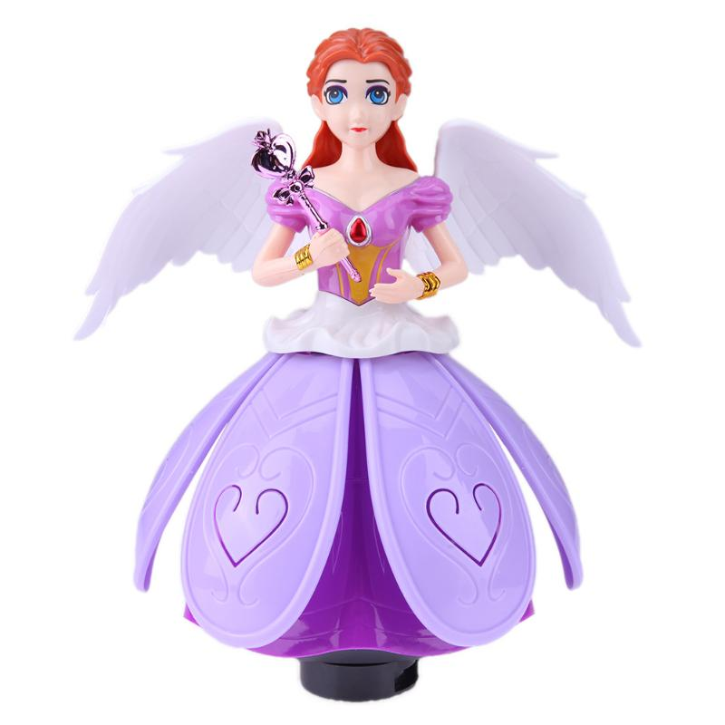 Electric Rotating Princess Dancing Light Music Doll Toy 3D Simulation Doll for Girls Baby Educational Toy Kids Birthday Gift