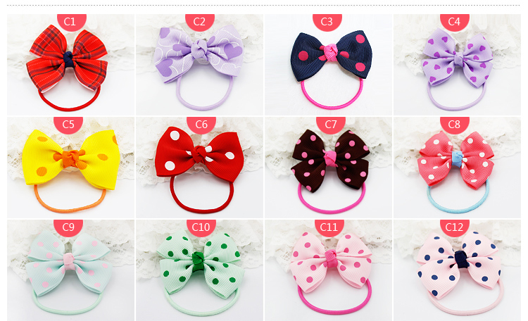 New Kids Elastic Hair Bands Colorful Cartoon polka dot Bow Ponytail Holder Rope Kids Accessories m mism new arrival korean style girls hair elastics big bow dot flora ponytail rubber hair rope hair accessories scrunchy women