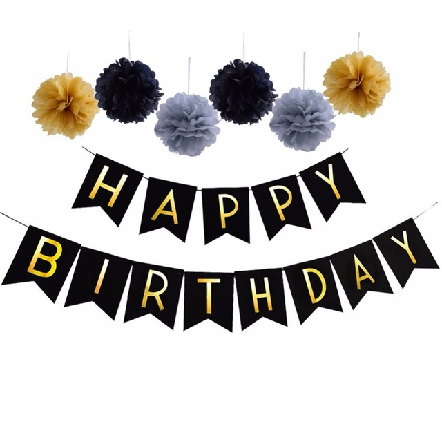 1Set Black Happy Birthday Letters Bunting 13 Flags Banner Tissue Paper PomPoms Pastels Party Decorations Supplies
