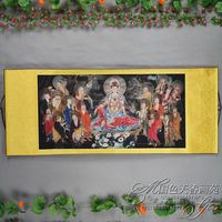 Exquisite Chinese Antique collection Imitation ancient The eighteen Arhats worshipping Bodhisattva Picture
