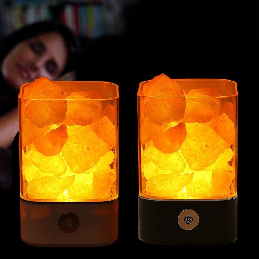 Crystal Light natural himalayan salt lamp USB led Lamp Air Purifier Mood Creator Indoor warm light table lamp bedroom lava lamp