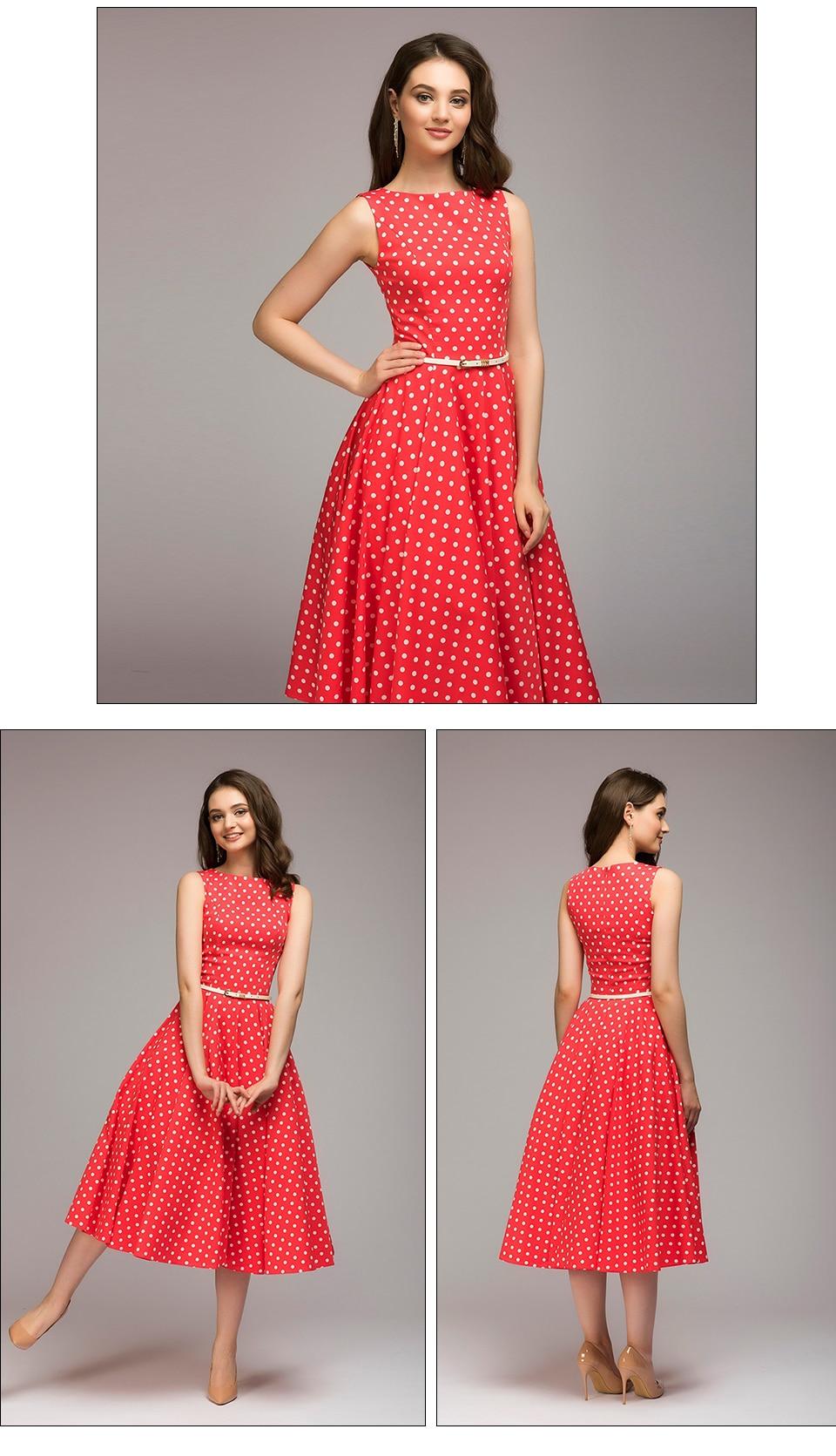 S.FLAVOR Women Vintage Dress Sleeveless O-neck Vestidos De Festa Women Elegant Thin Dot Printing Mid-Calf Casual Dress Female 6