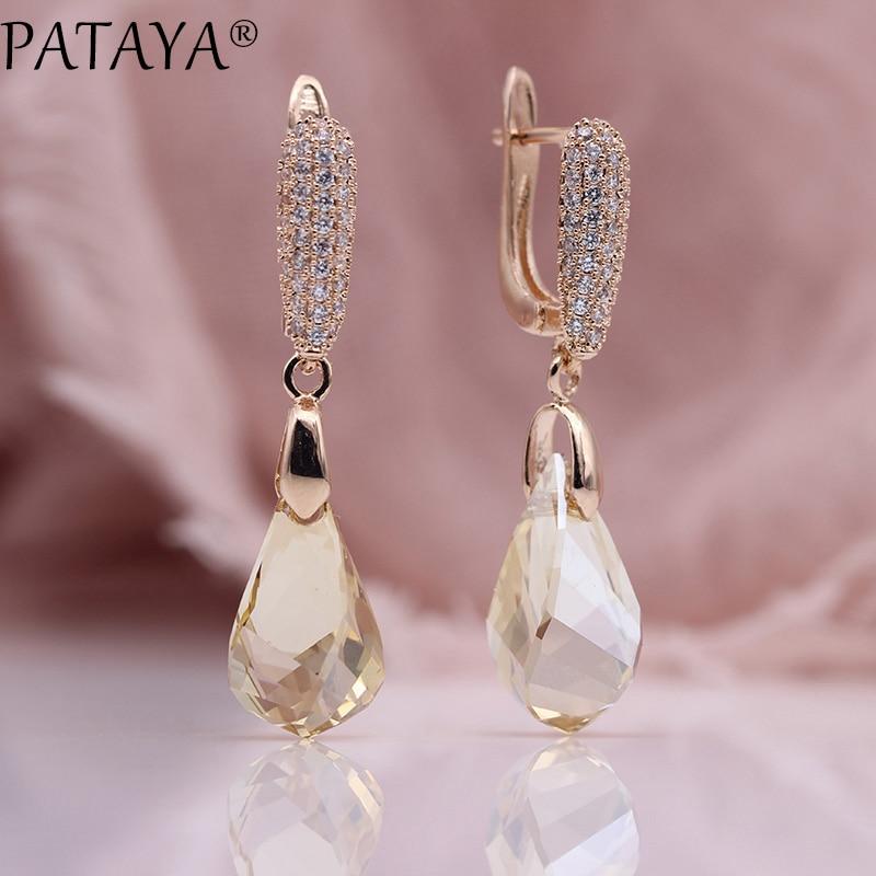PATAYA New Irregular Champagne Austria Crystal Earrings Women Luxury Party Jewelry 585 Rose Gold Natural Zircon Dangle Earrings