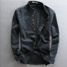 Homem verão linho camisa de manga longa estilo chinês do vintage moda camisas para o homem outono primavera linho algodão camisa casual ws994