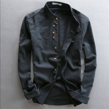 Man Summer Linen Long Sleeve Shirt Chinese Style Vintage Fashion Shirts For Autumn Spring Cotton Casual Ws994