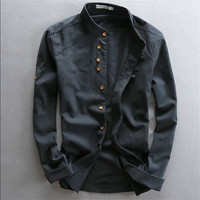 Man Summer Linen Long Sleeve Shirt Chinese Style Vintage Fashion Male Shirts For Man Autumn Spring Summer Ws994