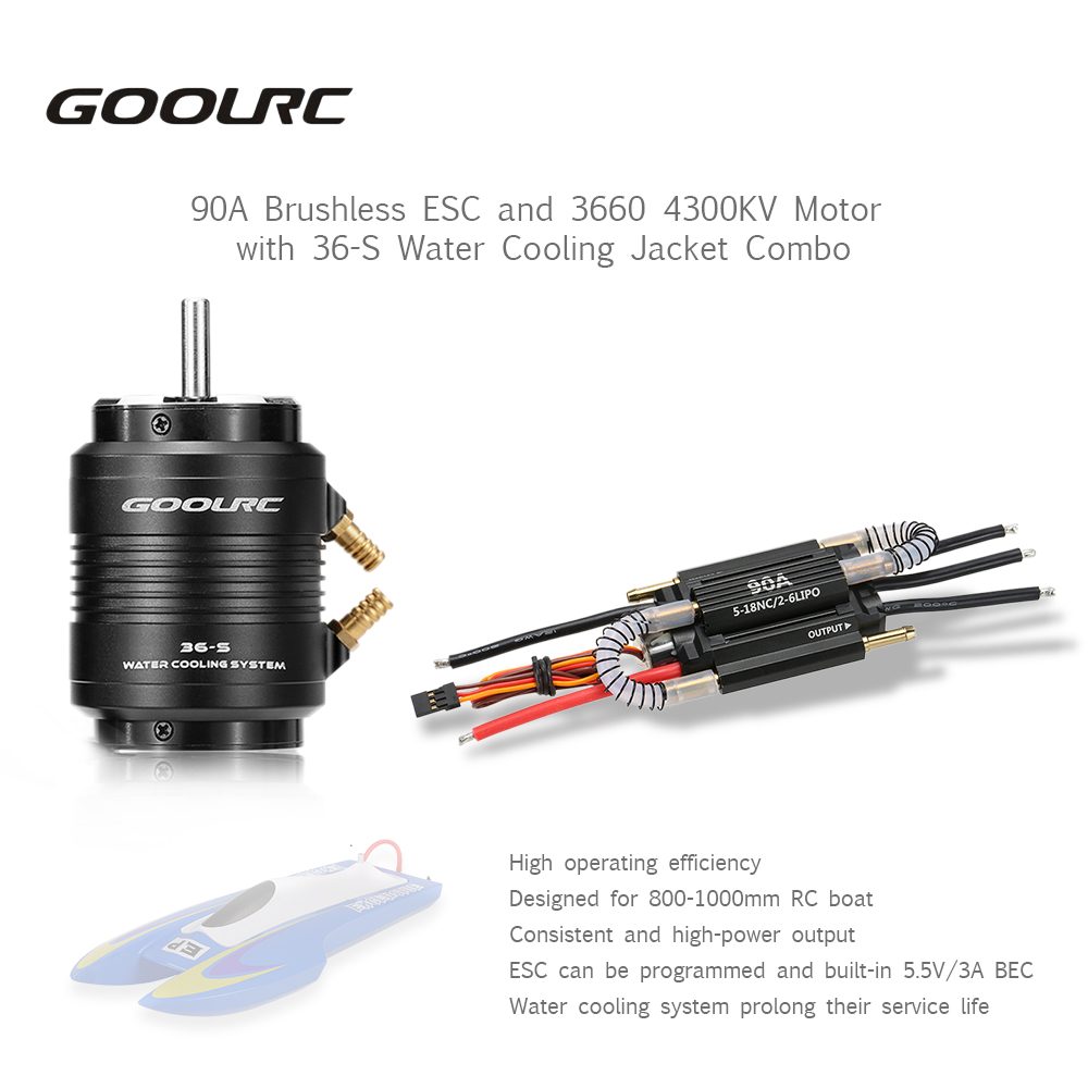 High Quality Original GoolRC 90A Brushless ESC And 3660 4300KV Motor With 36-S Water Cooling Combo For 800-1000mm RC Boat