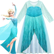 2019 New Queen Elsa Dresses Elsa Elza Costumes Princess Anna Dress for Girls Party Vestidos Fantasia Kids Girl Clothing Elsa Set недорого
