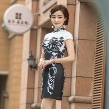 Vintage Floral Print Chinese Traditional Women's Retro Cheongsam Silk Short Qipao Handmade Button Party Dress