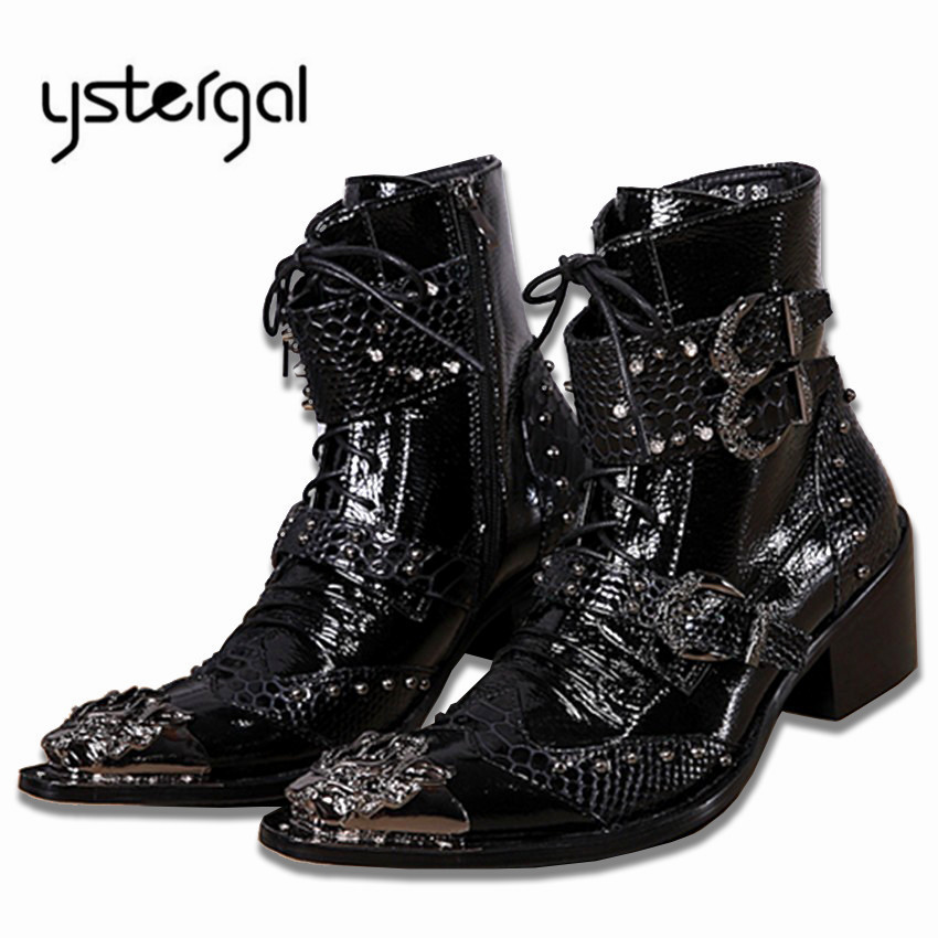 YSTERGAL Handsome Genuine Leather Men Ankle Boots Metal Pointed Toe Lace Up Mens Oxford Shoes Cowboy Boots High Top Botas Hombre fashion genuine leather mens ankle boots pointed toe lace up wedding dress shoes safety shoes men military boots mans footwear