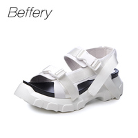 Beffery נעליים שטוחות נשים נעלי עור אמיתי בסגנון 2018 סנדלים בקיץ סנדלים מזדמנים בוהן עגול אופנה נעלי נשים