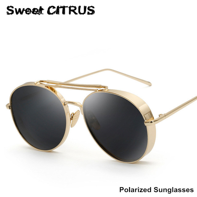 09fbcdbf0b CÍTRICOS dulces Gruesa Marco Polarizado gafas de Sol de Aviador de Metal  Moda Mujer Classic Piloto