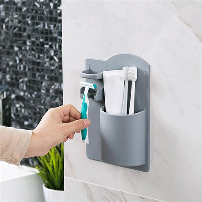 Image 5 - Durable Toothbrush Holder Wall Mounted No Drilling Bathroom Storage Organizer Toiletries Razor Holder Home Bathroom accessories-in Toothbrush & Toothpaste Holders from Home & Garden