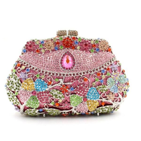 0c1e9846d Mulheres colorido diamante de Embreagem Saco de metal feminino Caso de  Telefone Titulares de Cartão de