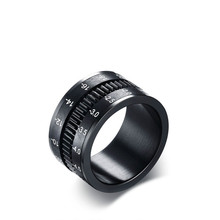men ring The trend of the original accessories can rotate the camera lens 12MM Titanium Ring Black men jewelry