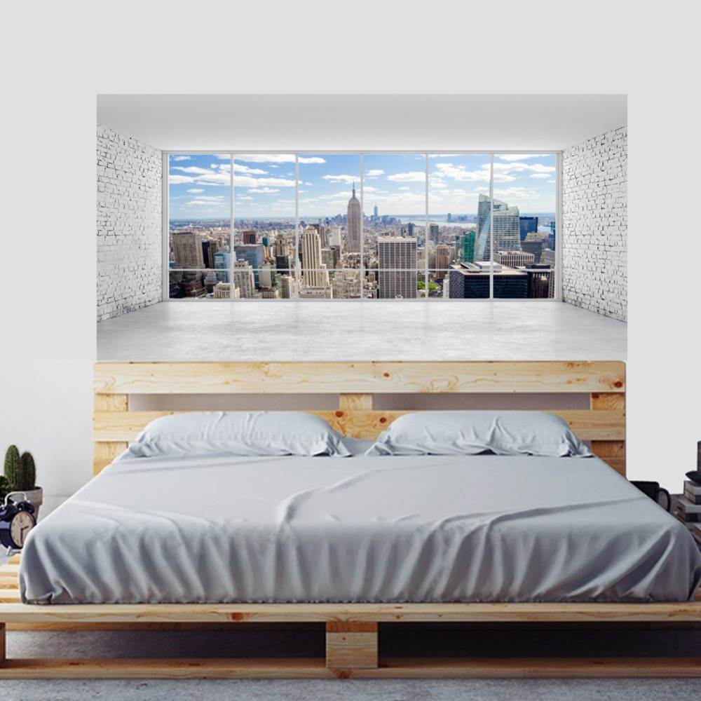 Image 4 - City Building Scene Wall Sticker Bed Head Stickers Wall Sticker For Dorm Room Bedroom Home Decor-in Wall Stickers from Home & Garden