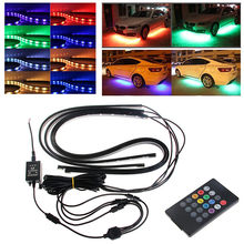 CARPRIE Atmosphere light 2019 NEW hot sale RGB LED Strip Under Car Tube Underglow Underbody System Neon Light Kit 12V 4pcs 9703(China)