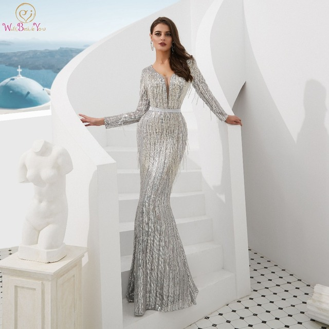 Gray Sequin Evening Dresses 2019 Mermaid Full Sleeves Long Keyhole Back With Tassel Robe Femme Shiny Floor Length Evening Gowns