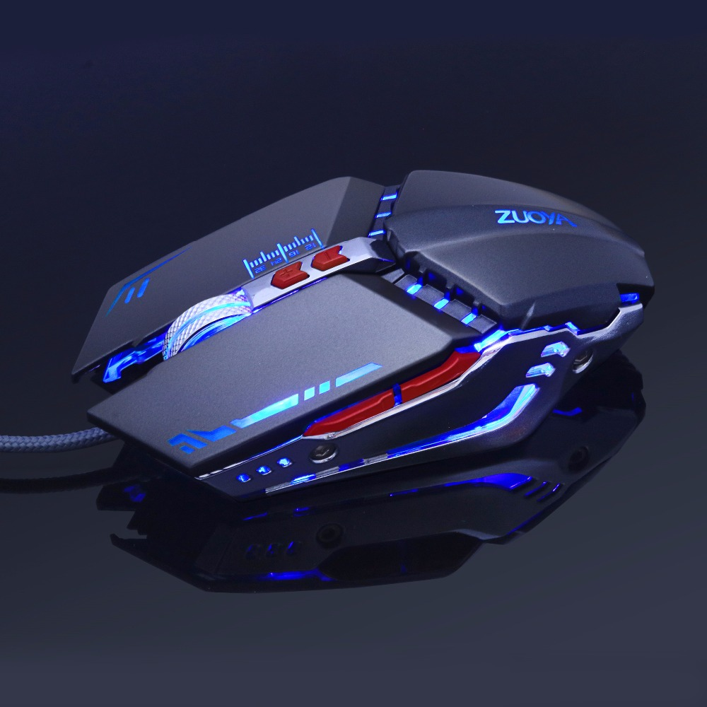 Gaming Mouse Ajustable 3200 DPI 6 Knapper Optisk Højkvalitets USB-kablet Game Mouse Gamer 4 Farve Puste Lys