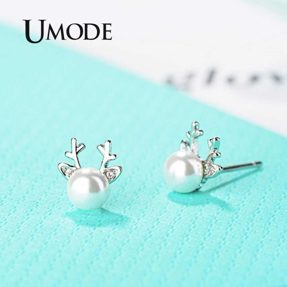 UMODE Small Deer Cute Pearl Studs Earrings Long Chain Necklaces Pendants Jewelry Sets US0057