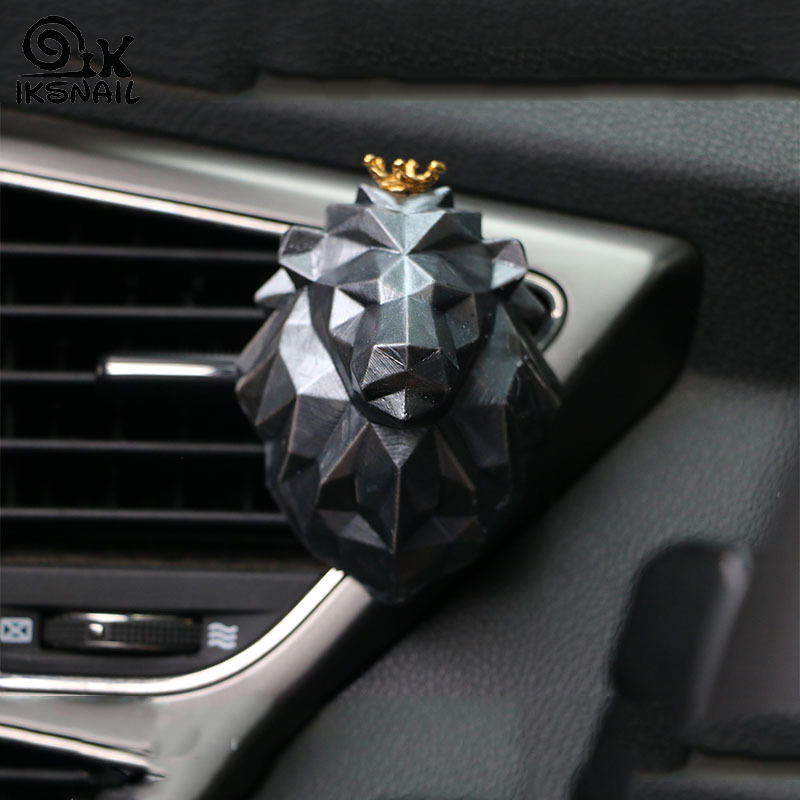 IKSNAIL Car Fragrance Lion Wolf 3D Geometric Animal Avatar Aromatherapy Gypsum Essential Oil Diffuser Stone Air Outlet Ornaments