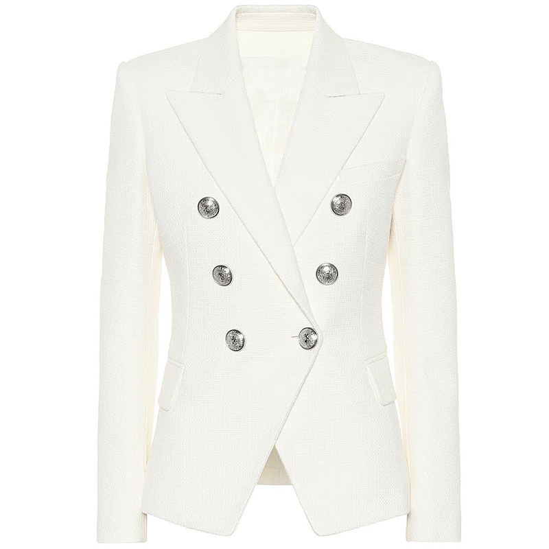 HIGH STREET 2019 Classic Designer Blazer Women's Double Breasted Metal Lion Silver Buttons Blazer Jacket