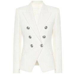 HIGH STREET 2019 Classic Designer Blazer Women's Double Breasted Metal Lion Silver Buttons Blazer Jacket