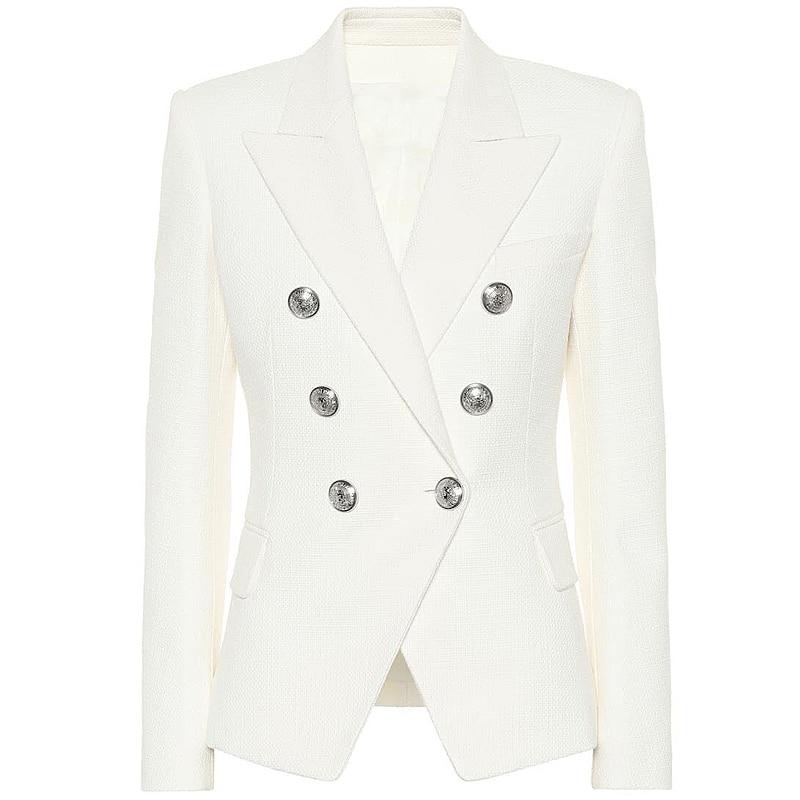 HIGH STREET 2020 Classic Designer Blazer Women's Double Breasted Metal Lion Silver Buttons Blazer Jacket