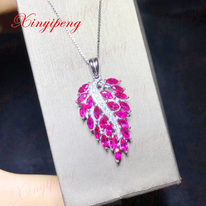 Xin yi peng 925 silver inlaid natural ruby necklace Women pendant wedding anniversary gift браслет 925 3m yi skub012