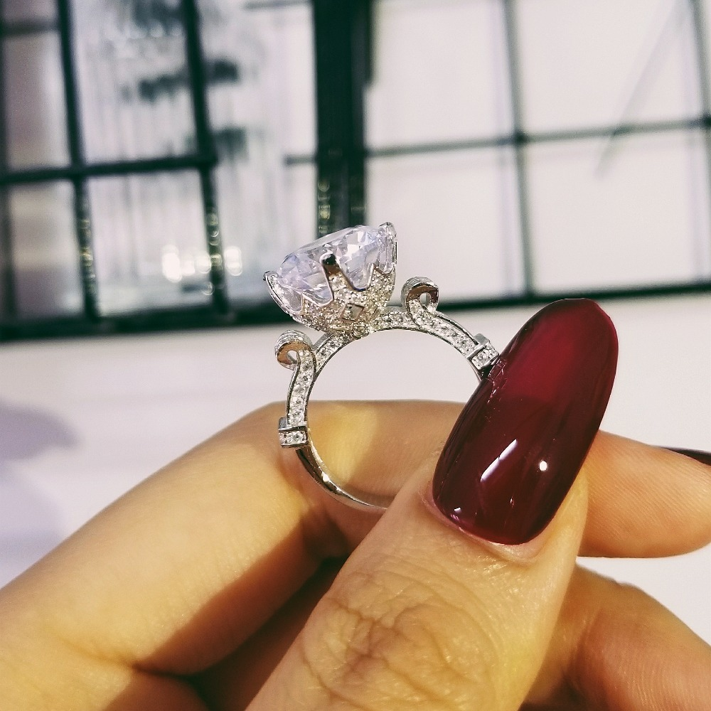 2019 Neue Design Vintage Luxus 925 Sterling Silber Hochzeit Engagement Halo Ringe Für Frauen Finger Schmuck Großhandel Moonso R1805 Neue Sorten Werden Nacheinander Vorgestellt