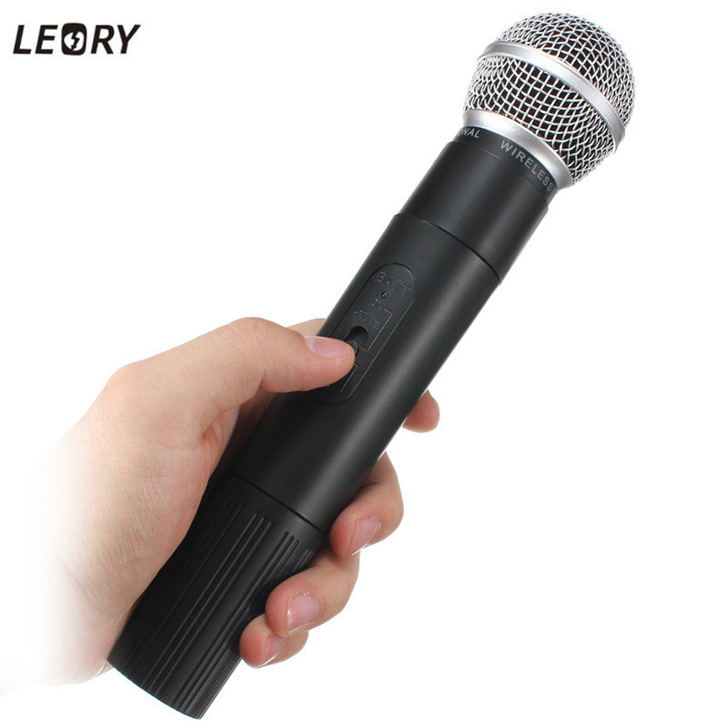 LEORY Professional Karaoke VHF Wireless Microphone System 2 Channels 220V Handheld Microphone Mic With Receiver system 8600c professional wireless microphone 8 channel professional vhf 8 stage karaoke microphone handheld wireless microphone