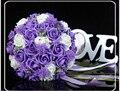 2017 Barato Nueva Llegada Púrpura dama de Honor Nupcial de La Flor Ramo De La Boda Artificial Flor de Rose Ramo de Novia Buque de noiva