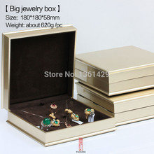 golden colour Jewelry Box Organizer Boxes The Box set for Ring earring pendant Necklace Technology without blemish