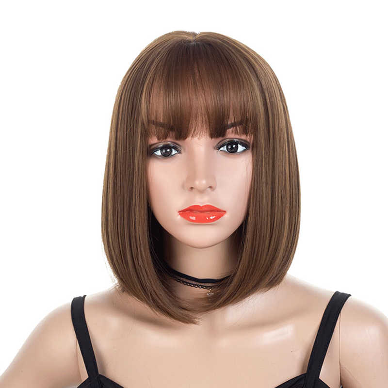 Synthetic short straight bob wig with bangs shoulder length cosplay wig for ladies