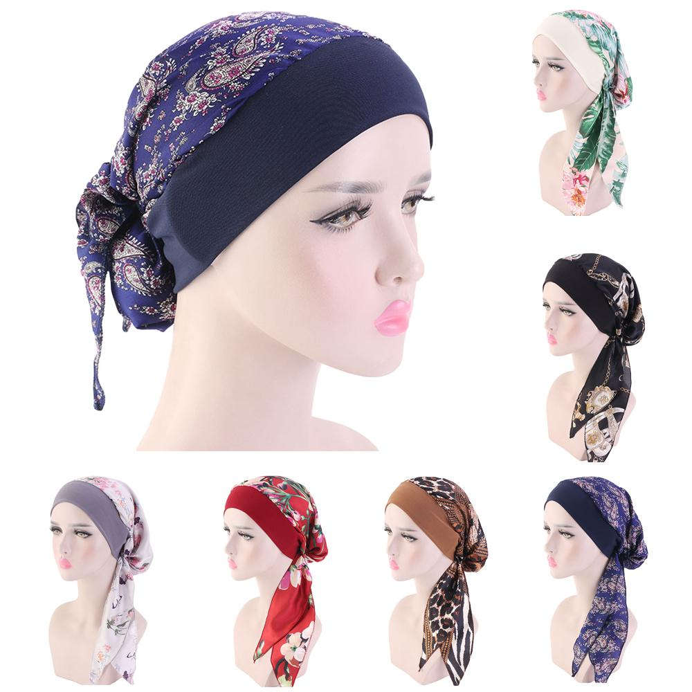 Women Printed Beanie Turban Chemo Cancer Cap Bonnet Head Wrap Scarf Muslim Hijab Hair Loss Hat Islamic Turban Chemo Cancer Cap