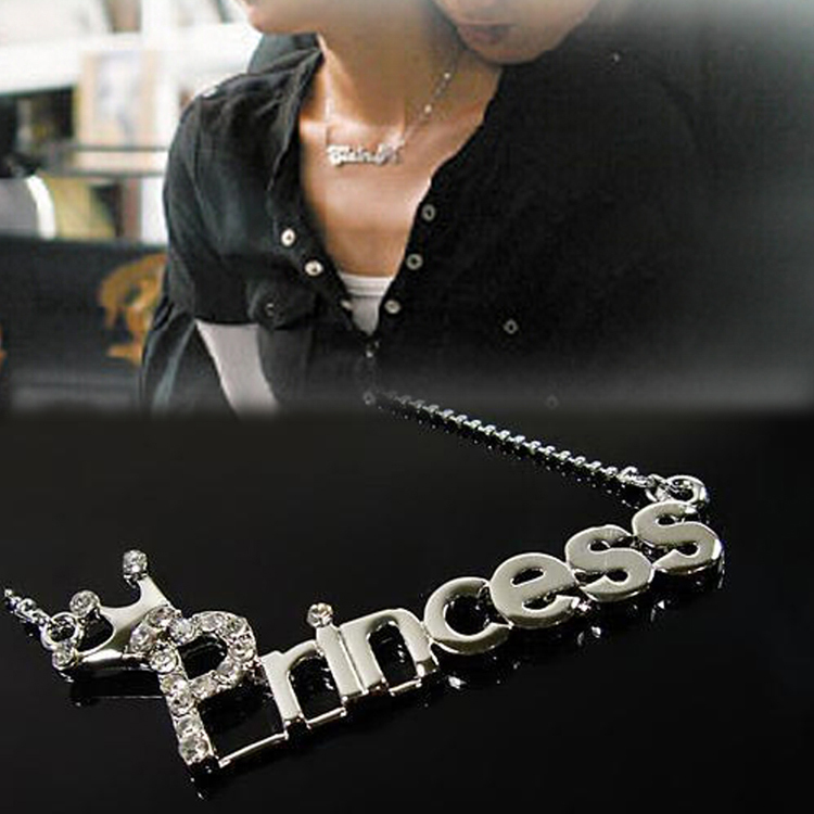 Fahsion Plated Silver Princess Pattern Pendant Long Chain Rhinestone Necklace Jewelry Accessories Drop Shipping