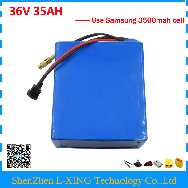 Free customs duty 36V 35AH battery pack 1500W 36V lithium scooter battery bike use samsung 3500mah cell 50A BMS with 5A Charger