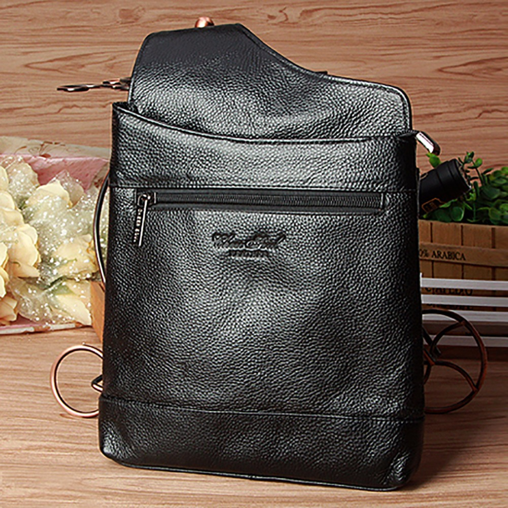 ФОТО Genuine Leather Men Cross Body Chest Day Pack Fashion Casual Single Back Pack Male First Layer Cowhide Messenger Shoulder Bag