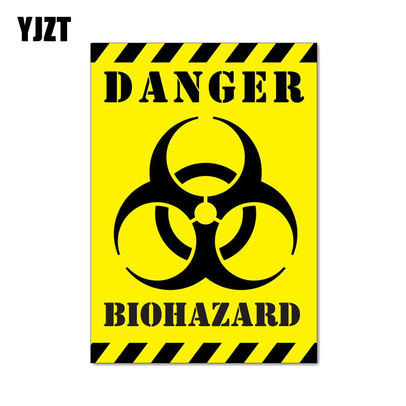 YJZT 12CM*17.1CM Car Sticker Funny DANGER BIOHAZARD ZOMBIE Reflective Decal C1-7550