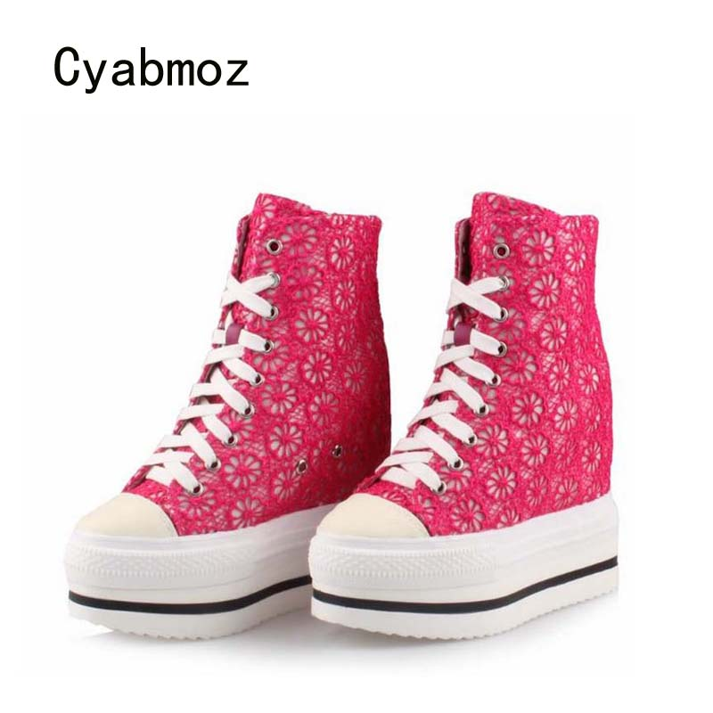 Cyabmoz Women Platform Wedge Shoes Woman High heels top Lace Height increasing Party Shoes Zapatillas deportivas Zapatos mujer цена и фото