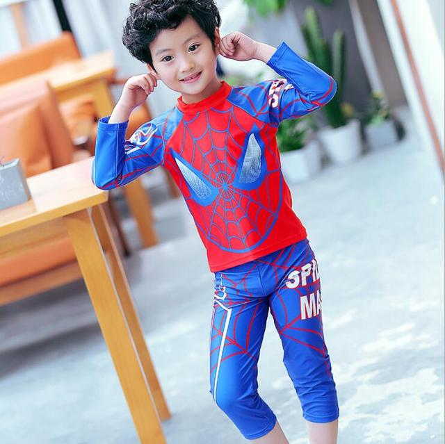 2017 New Boys Swimwear Two Pieces Long Sleeve Spider Man ...